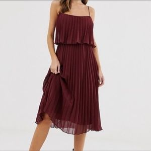 ASOS Crop Top Pleaded Midi Dress Ox Blood 12